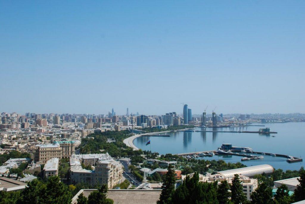 Panorama Baku Morze Kaspijskie Azerbejdzan Polwysep Apszeronski